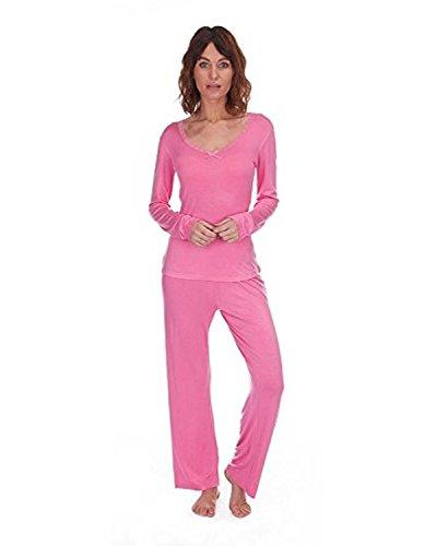 Femmes Été Léger Pyjama / Ensemble De Salon avec bordure en dentelle Haut Rose