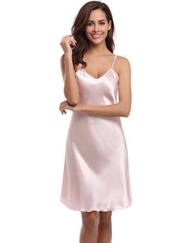 Aibrou Damen Sexy Negligee Nachthemd Satin Nachtkleid Nachtwäsche Unterwäsche Sleepwear Kurz Trägerkleid V Ausschnitt Rosa