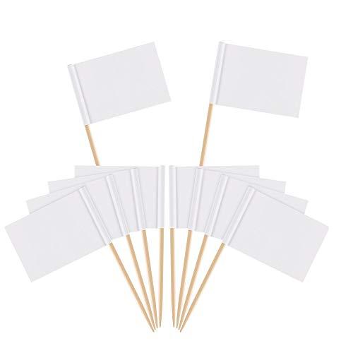 (Zahnstocher Flaggen,Flaggenpicker Bambus Leere Toppers Toothpick für Party Kuchen Lebensmittel Käseplatte Vorspeisen 100 Stücke)