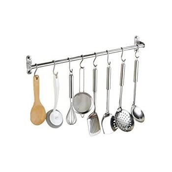 Alicemall Kitchen Utensils Hanger Organizer Lid Holder Stainless Steel  Multipurpose Wall Mounted Pan Pot Rack (100cm 15 Hooks)