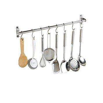 SUS304 Edelstahl Küchen Hängeleiste Bad Hakenleiste mit 15 Beweglichen Haken ( 100cm )