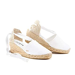 VISCATA  Classic Espadrilles Heel Made in Spain, White - 39 M EU