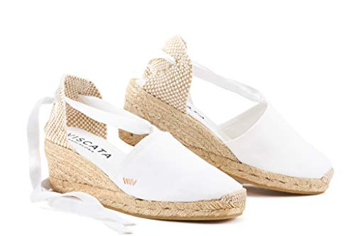 VISCATA Ebene 2.5 Heel, Soft Ankle-Tie, Closed Toe, Classic Espadrilles Heel Made in Spain, White - 36 M EU