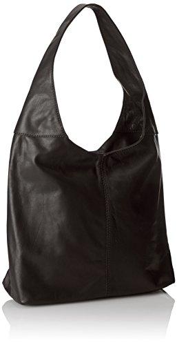 CTM Frau Umhängetasche mit Reißverschlusstasche in der Hand, 41x55x12cm, echtes Leder 100% Made in Italy Schwarz (Nero)