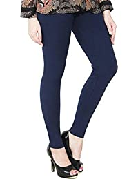 c9c5b808cdf36 LUX LYRA Women's Cotton Stretchable Ankle Length Leggings (Navy Blue, Free  Size)