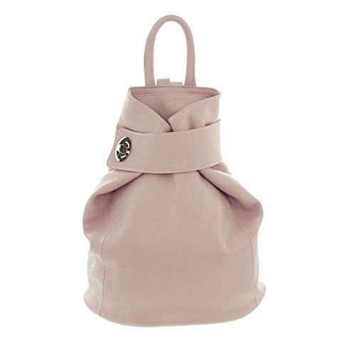 IO.IO.MIO Leichter echt Leder Damenrucksack CityRucksack Daypack freie Farbwahl, 28x31x13 cm (B x H x T) (Rose)