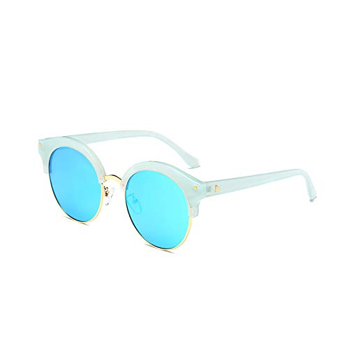 SUNGLASSES Polarisierte Gläser UV-Beweis halbe Rahmen Gezeiten Gesicht Persönlichkeit Avantgarde Paar Sonnenbrille Sonnenbrille Frauen (Farbe : Blue Box Blue)