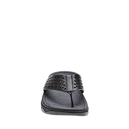 FitFlop Leather Lattice Surfa, Sandales femme complètement noir