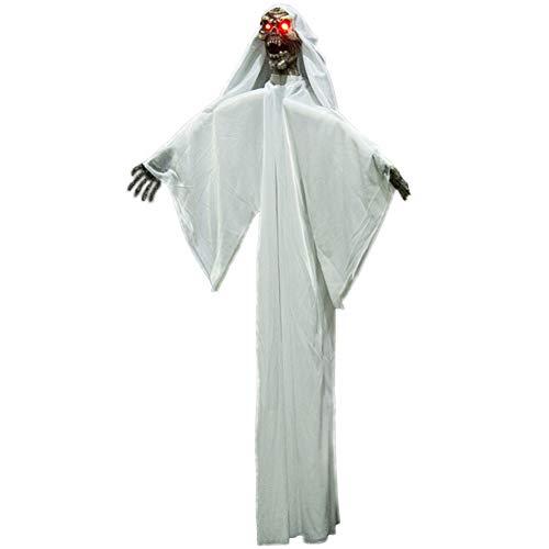 Qchomee Hängende Geister Halloween-Dekoration Totenkopf Skelett Gruselige rote Augen leuchtende dekorative Lichter gruselige Stimme Sound gesteuerte Bewegung Dekoration Requisiten 99 cm weiß