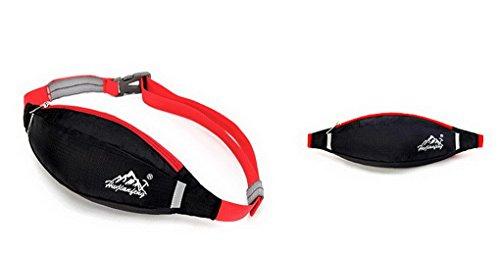 Unisex multifunzione in Nylon impermeabile Bum Marsupio Packs denaro Hip Pouch con cintura regolabile per Outdoor Sport, palestra, corsa, trekking, campeggio, pesca Bike Nero