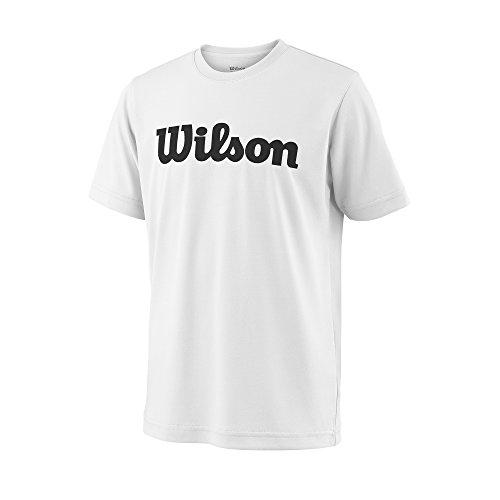 Wilson Jungen/Mädchen Sport-Kurzarmshirt, Y Team Script Tech Tee, Polyester, Weiß/Schwarz, Größe: XL, WRA770701