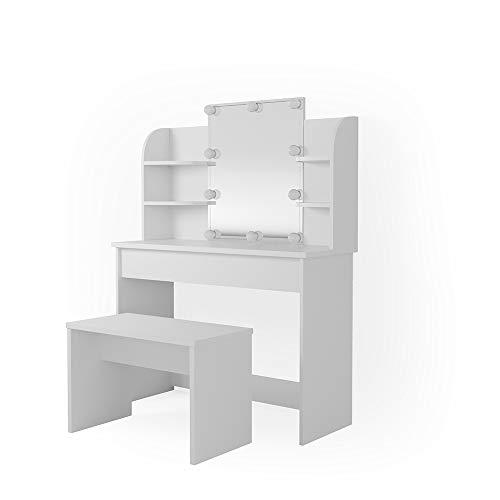 Vicco Schminktisch Charlotte 142 x 108 cm Weiß mit Bank und LED Beleuchtung - Frisiertisch Kommode Spiegel LED Bank +++ Schminkkommode mit Schubfach- und Regalsystem +++ (weiß)
