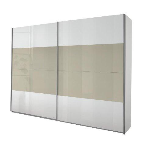 Rauch Schwebetürenschrank Weiß Alpin 2-türig, Glas Absetzungen Sandgrau Hochglanz, BxHxT 270x210x62 cm