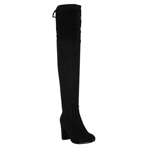 Damen Stiefel Overknees Leicht Gefütterte Langschaftstiefel Schuhe 150349 Schwarz Schleifen 39 Flandell