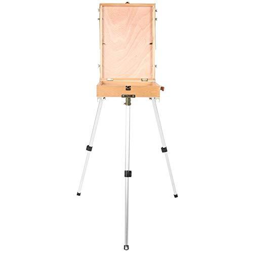 Especificación:   Condición: nuevo  Material: madera + aleación de aluminio  Color: como imagen    Lista de embalaje:   1 x Caballete  1 x paleta  1 x correa para el hombro