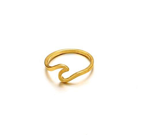 Lafeil Gold Ring for Women Ringe Damen Modeschmuck Gold Wave Blumen Dünn Ring