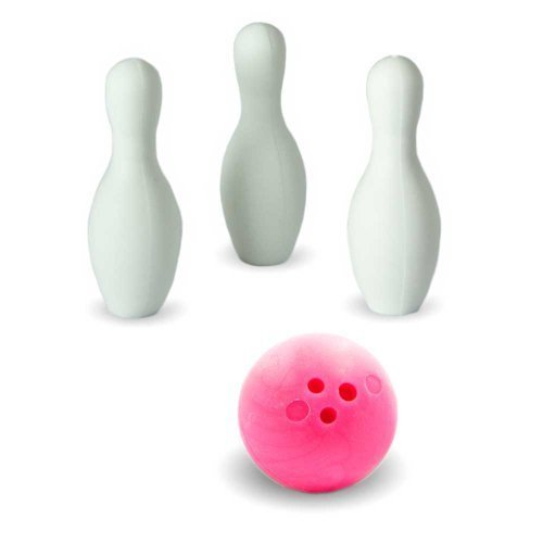 Iwako Puzzle Radiergummi zum Sammeln Bowling Kugel 3 Bowling Kegel Pins und Sticker pink