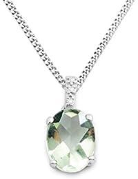 Miore Damen-Kette mit Anhänger 375 Weißgold Amethyst grün Ovalschliff Diamant 45 cm - MKW9050N