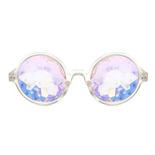 MMLC Kaleidoskop Gläser Regenbogen Rave Wurmloch Prisma Diffraktion Brille (White)
