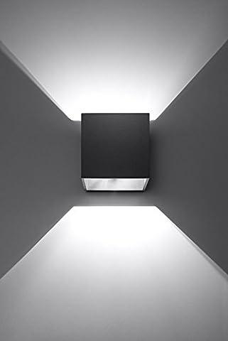 K-Bright 12W Moderne LED Schwarz Aluminiumgehäuse Wandleuchte mit einstellbar Abstrahlwinkel Design Wasserdichte IP 65 außen Wandaussenleuchte für Schlafzimmer, Wohnzimmer, Küche, Diele, Pathway und Treppe Kalt (Küche Indirekte Beleuchtung)