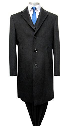 Herren Mantel lang 3- Knopf Muga Schwarz