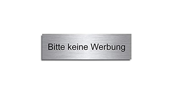 M1 Echtes Edelstahl T/ürschild Briefkasten-Schild selbstklebend Gr/ö/ße: 8x3,5 cm Bitte keine Werbung oder kostenlose Zeitungen