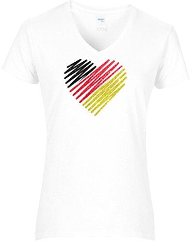 Damen WM Shirt Deutschland Fussball Glitzeraufdruck Herz Deutschland Farben Germany, T-Shirt, Grösse L, Weiss