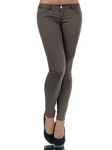 H937 Damen Jeans Hose Hüfthose Damenjeans Hüftjeans Röhrenjeans Röhrenhose Röhre, Farben:Khaki;Größen:36 (S)