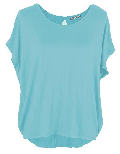 Emma & Giovanni - Basic Sommer T-Shirt/Oberteile Kurzarm - Damen (hellblau, M/L)