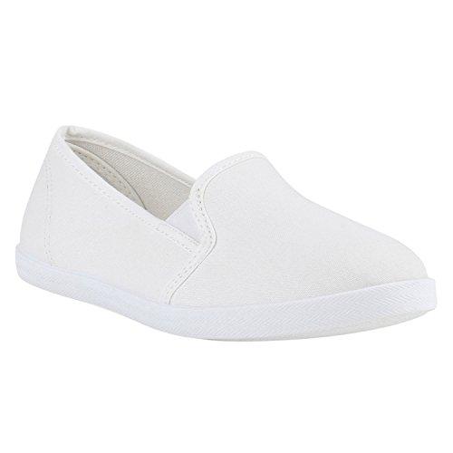 Bequeme Damen Slipper | Slip-ons Sportliche Schuhe | Flats Stoffschuhe | Prints Glitzer | Freizeitschuhe Weiss Total