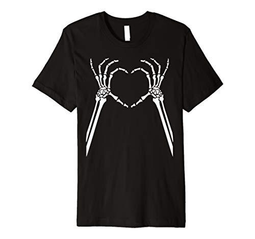 Nettes Skelett-Herz übergibt Halloween-Partei-Kostüm-T-Shirt