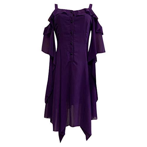 Daygeve Retro Vintage Karneval Gothic Steampunk Styles Princess Cosplay Party Vampir Kostüm, Damenmode Dark In Love Rüschenärmel Schulterfrei Gothic Midi-Kleid (Rock Stars Der 80er Jahre Kostüm)