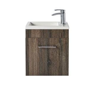 Lomond Vanity Unit & Basin (Left or Right Fitting) Wall Hung 400mm x 480 Truffle Oak