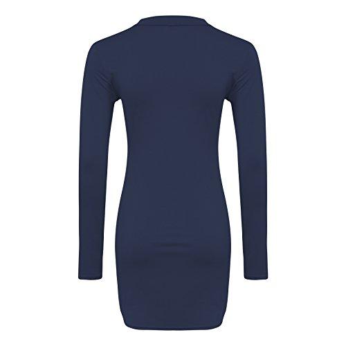 Damen Bodycon V- Cut -Ansatz-Kleid Größe 36-42 Marine