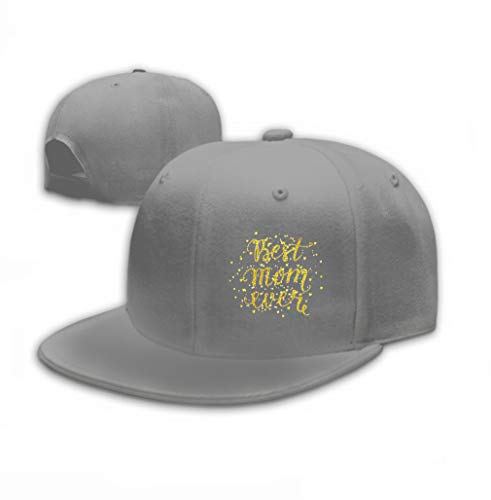 Unisex Baseball Cap Trucker Hat Adult Cowboy Hat Hip Hop Snapback Best mom Ever Gold Lettering Spray Mothers Day Card Gray