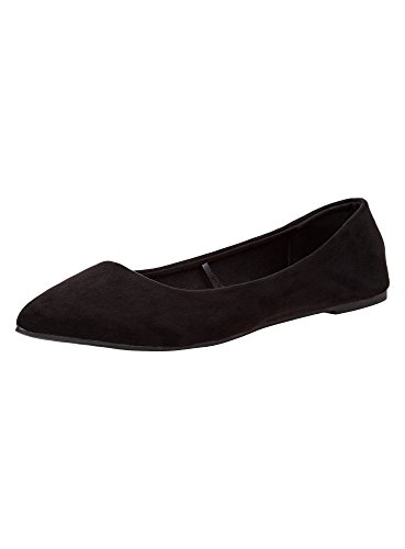 oodji Ultra Damen Ballerinas Aus Wildlederimitat, Schwarz, 37 EU/4 UK