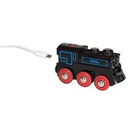 BRIO 33599 Locomotiva Ricaricabile con Mini Cavo USB, BRIO Treni-Vagoni-Veicoli, Età Raccomandata 3