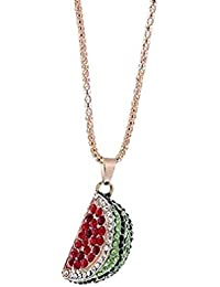 4363413ed94c Angebote Wassermelone Anhänger Halskette Frauen Charme Bunte Wassermelone  Strass Nette Halskette Schmuck Moeavan (rot)