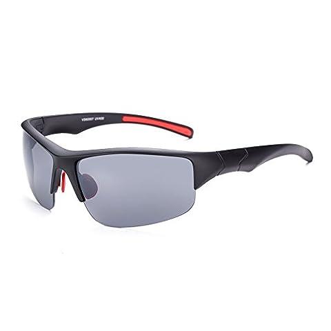 HMILYDYK Lunettes de soleil polarisées Al-Mg innovantes homme pour la conduite Cadre en métal incassable Lunetterie pour sport, Black Frame Grey Lens