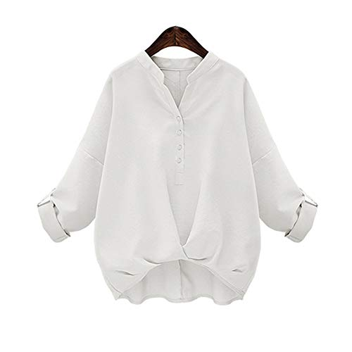Morbuy Damen Sweatshirt, Casual Pullover Langarm T-Shirt Rundhals Ausschnitt Lose Bluse Oberteil Hemd Oversize Tops Sweatjacke Sport (m, Weiß)