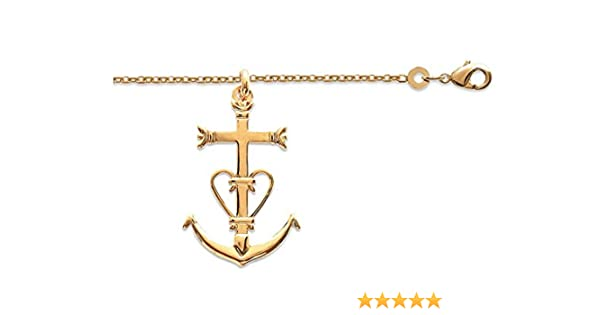 pendentif grande croix de camargue des saintes maries,ensemble collie grande croix camargaise plaqu/é or et chaine en 50cm avec boite ecrin