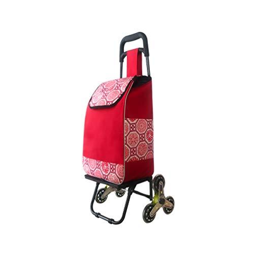 Faltbarer Kauf Gemüsewagen Haushalts Einkaufswagen Edelstahl Achse Treppensteigen Trolley GW (Farbe : Rot)