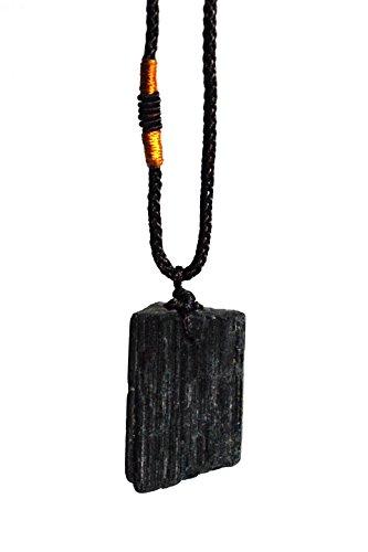 Colgante de turmalina negra cargado de energía reiki con cordón (envuelto para regalo)