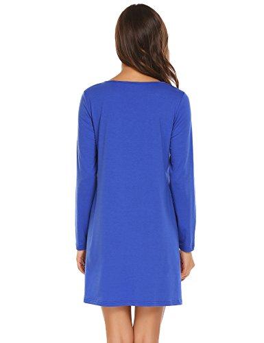 Meaneor Damen Kleid Langarm Ruffled V-Ausschnitt Langarm Casual A-Line Tunika Kleider Polarblau