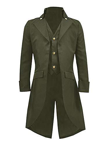 chwarz Gothic Tailcoat Jacke Steampunk viktorianisch VTG Halloween Kostüm Langer Mantel - Grün - Klein ()