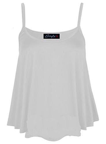 NEW pour femme Uni Swing pour femme sans manches bretelles Cami Mesdames Plus Taille évasée Multicolore - Blanc