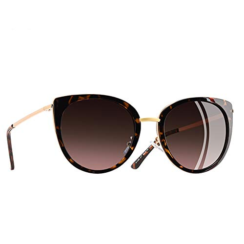 JU DA Sonnenbrillen Katze Auge Sonnenbrille Frauen Vintage Damen Polarisierte Sonnenbrille Weibliche Schattierungen Metall Rahmen Brillen Gafas C3Braun