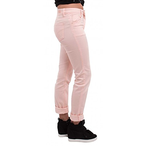 Jean femme rose clair coupe droite & taille haute type jean stretch avec revers chevilles amovibles- Rose