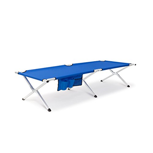 Relaxdays Feldbett mit Seitentasche HBT: 44 x 62 x 190 cm Campingbett mit faltbarem Metallgestell und wetterfestem Polyester-Bezug Outdoor Klappliege und Campingliege, blau