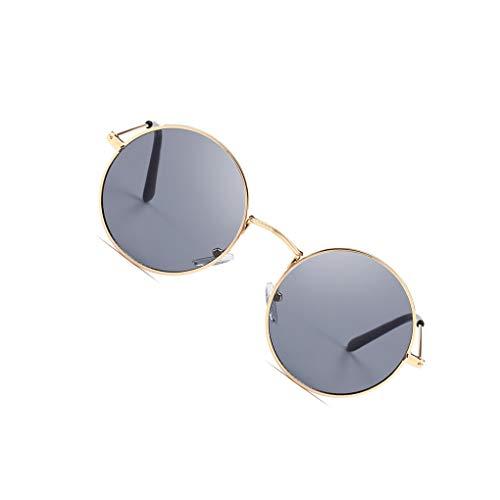 Rekkle Männer Frauen Runde Metallrahmen Sonnenbrillen Kreis-Harz-Objektiv UV-Schutz Eyewears Unisex Frauen männlich Sun Glasses
